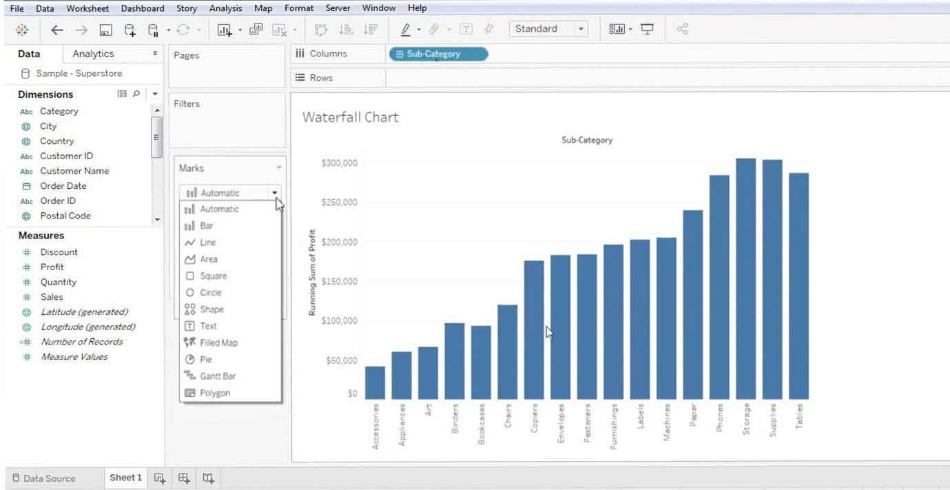 Waterfall Chart in Tableau 5
