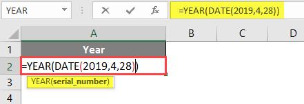 YEAR formula example 1-2