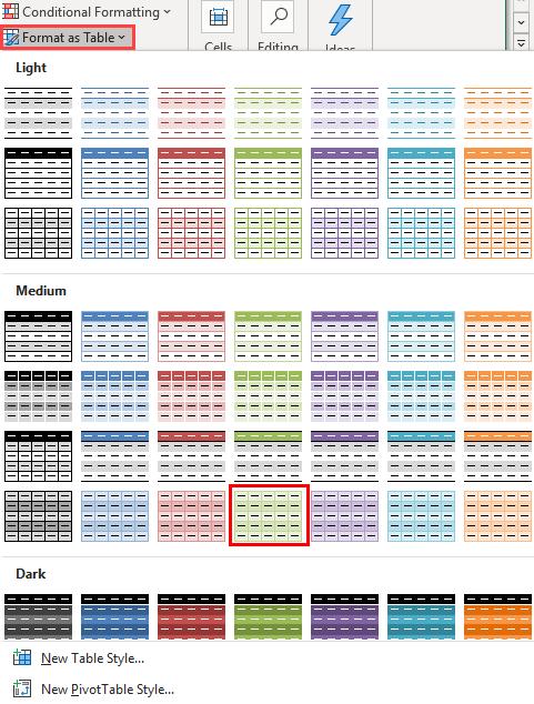 alternate row color 1-3