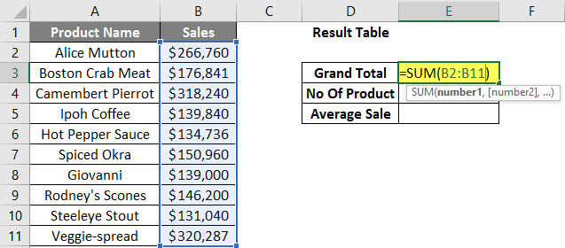 calculations in excel example 2.4