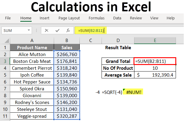 calculations in excel