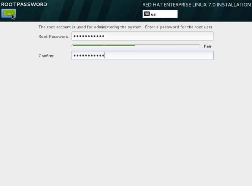 configuring a root password 2