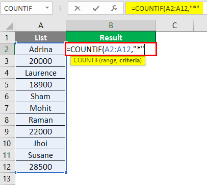 count cells with text in excel 1-4