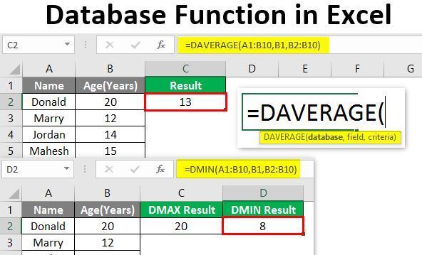 database function in excel
