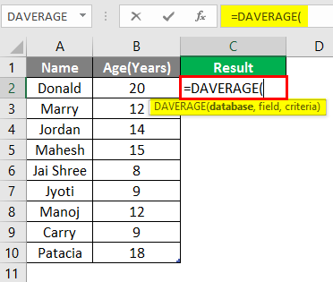 database function in excel example 1-3