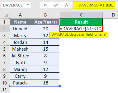 database function in excel example 1-4