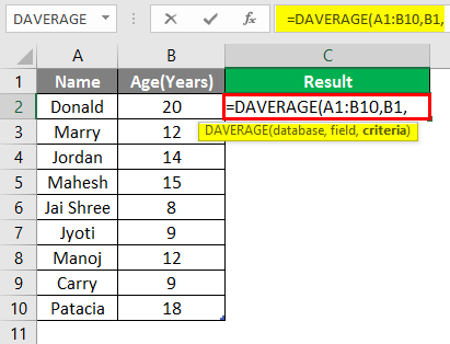 database function in excel example 1-5