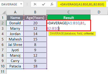 database function in excel example 1-6
