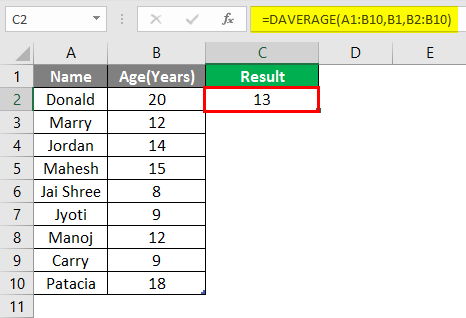 database function in excel example 1-7