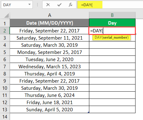 Day Formula in Excel | How to Use Excel Day Formula with ...