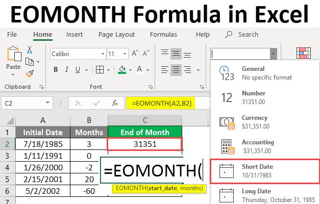 eomonth formula in excel