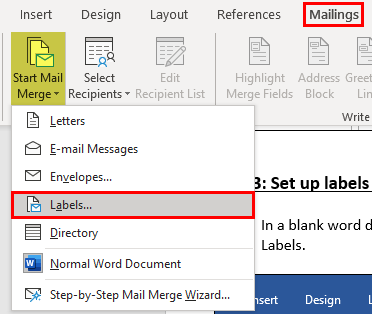how to print labels from excel step 3