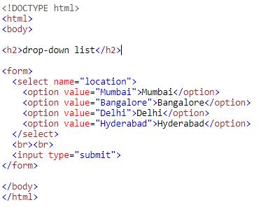 Input Type drop-down list
