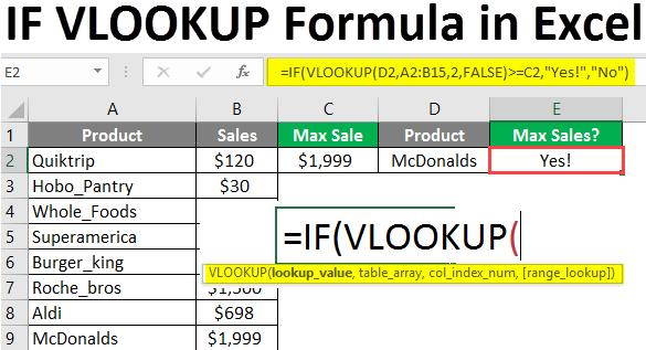 if vlookup formula in excel