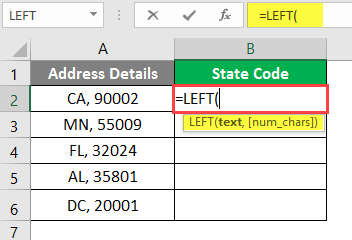 left excel example 2-2