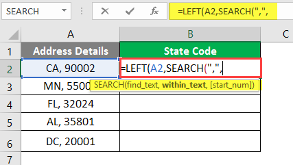 left excel example 2-5