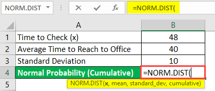 normal distribution formula in excel example 1-2