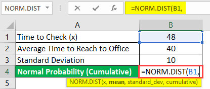 normal distribution formula in excel example 1-3