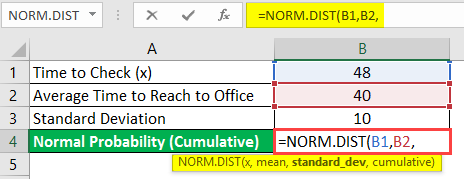normal distribution formula in excel example 1-4