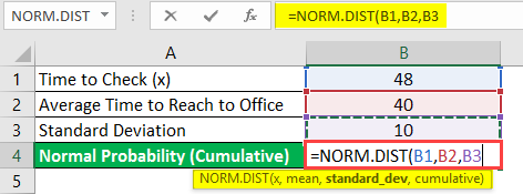 normal distribution formula in excel example 1-5