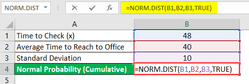 normal distribution formula in excel example 1-6