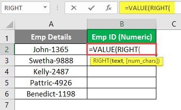 ext value into a numerical value