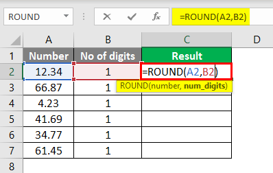 round formula excel example 1-1