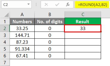 round formula excel example 2-2