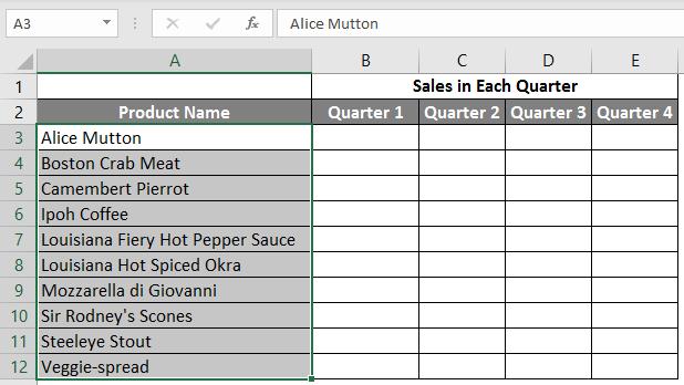 spreadsheet in excel example 2.4