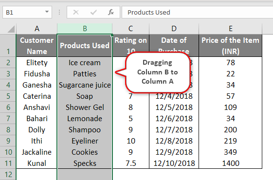 switching columns in excel example 2.3