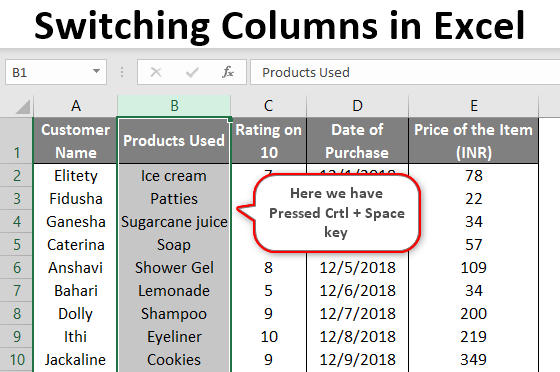 switching columns in excel