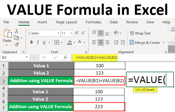 value formula in excel