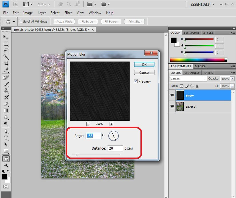 (How to create Snow Effect in Photoshop) Step 8