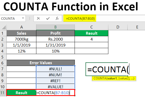 COUNTA Function in Excel
