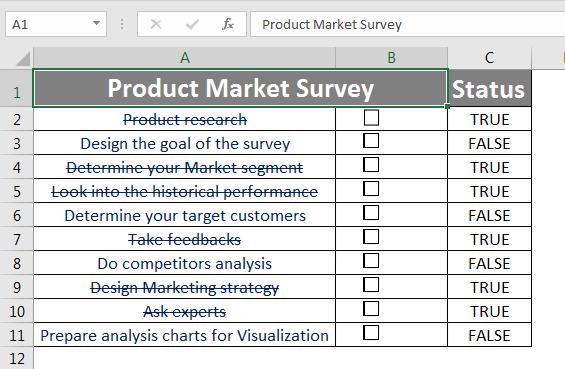 Checklist in Excel 1.2