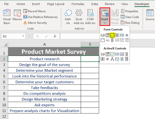 Checklist in Excel 2.4
