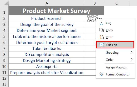 Checklist in Excel 2.5