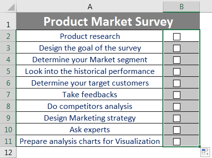 Checklist in Excel 2.6