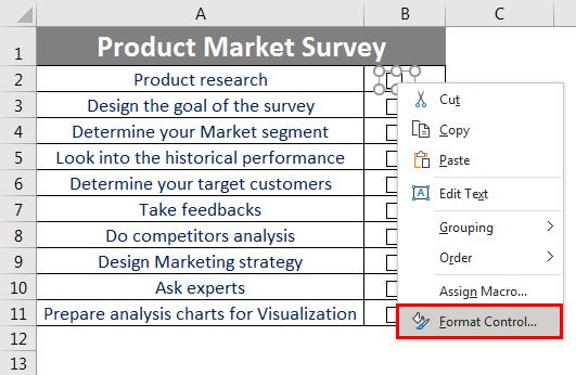 Checklist in Excel 2.7.1