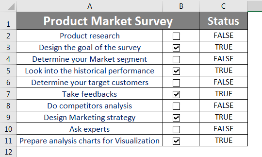 Checklist in Excel 2.7.3