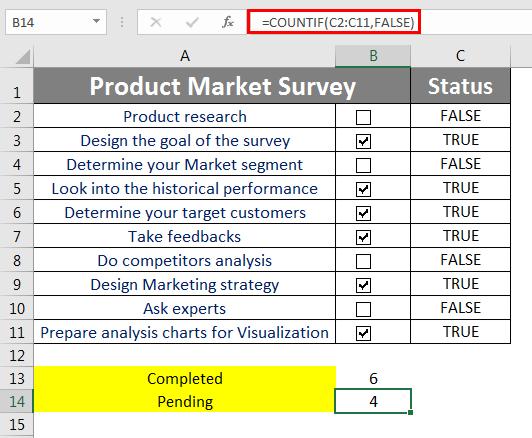 Checklist in Excel 3.1
