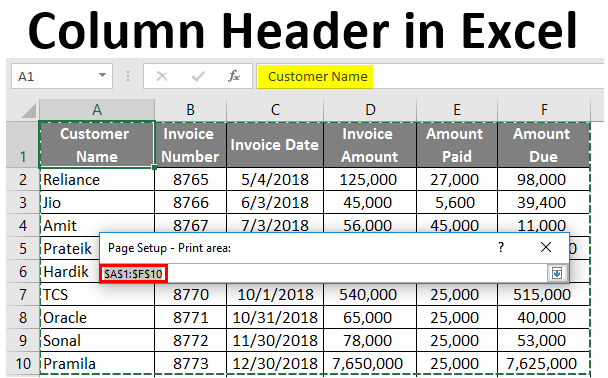 Column Header in Excel
