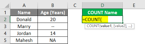 Count Names in Excel example 1.3
