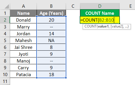 Count Names in Excel example 1.4