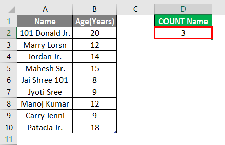 Count Names in Excel example 2.6