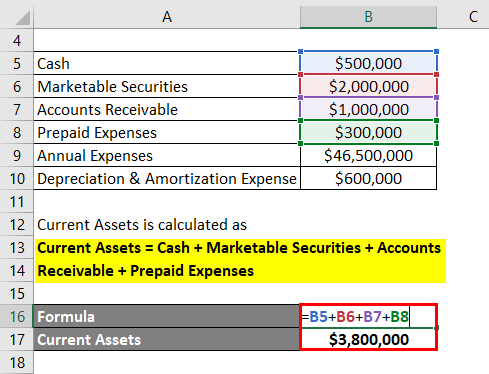 Calculation of Current Assets -1.2