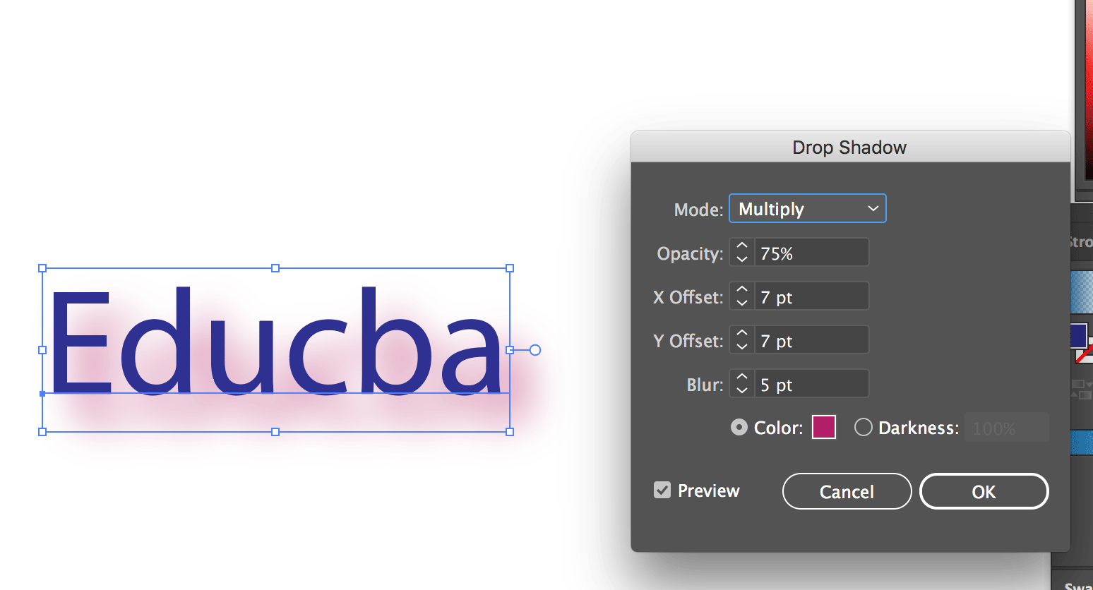 Text Effects In Illustrator (Drop Shadow)