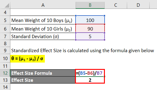Effect Size Formula Example 1-2