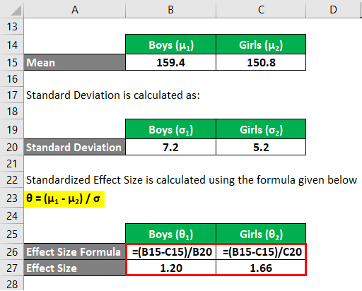 Effect Size Formula Example 2-8