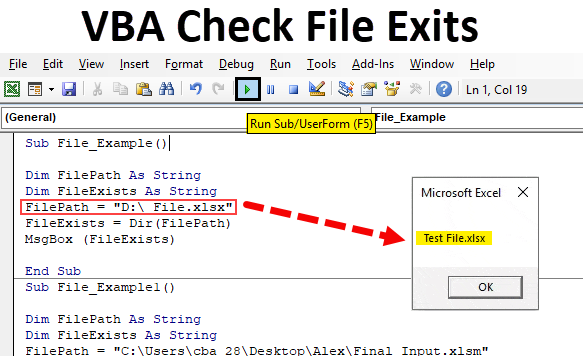 VBA Check File Exists | VBA DIR Function to Check File Exists